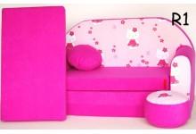 Dětská rozkládací pohovka růžové