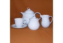 Čajová porcelánova souprava pro 6 osob - DAPHNE bílá