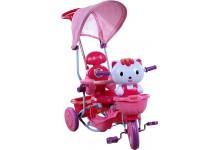 Dětská tříkolka s košíkem  kočka růžový