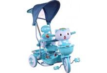 Dětská tříkolka s košíkem  kočka modra
