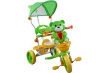 Dětská tříkolka s košíkem  medvídek zeleny