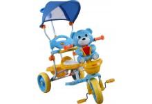 Dětská tříkolka s košíkem  medvídek modry