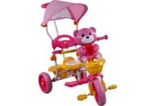 Dětská tříkolka s košíkem  medvídek růžový